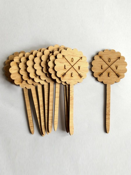 Lovely Wooden Cake Topper(10 Pieces)