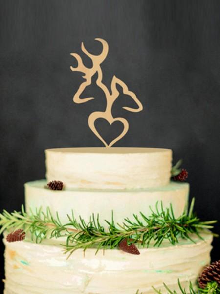 Cute Wooden Cake Topper