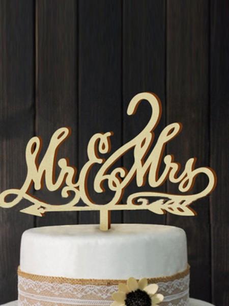 Pretty Wooden Cake Topper