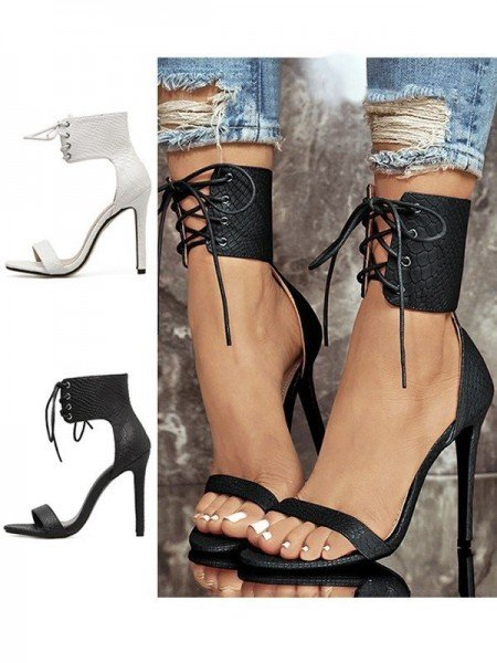 Women's PU Peep Toe Stiletto Heel With Lace Up Sandals