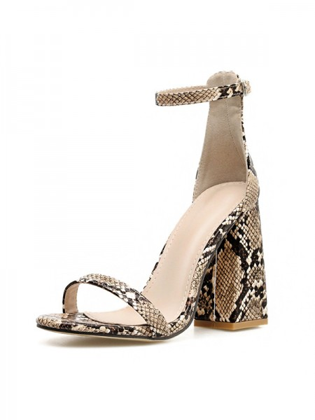 Women's Patent Leather Peep Toe Buckle Chunky Heel Sandals