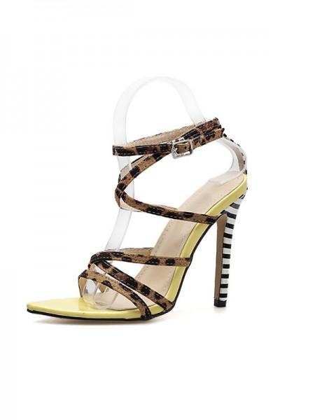 Women's Peep Toe Suede With Buckle Stiletto Heel Sandals