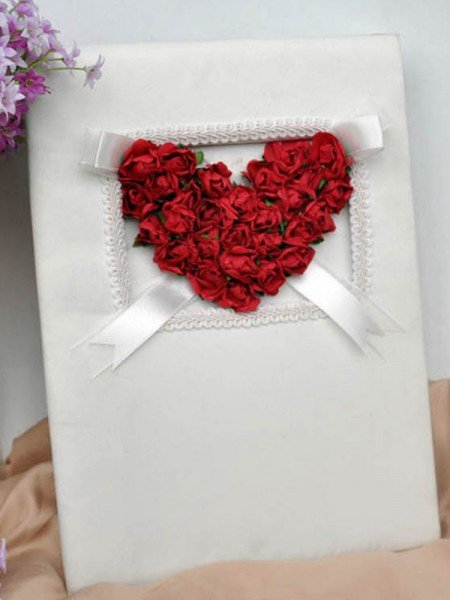Romantic Cloth With Hand-Made Flower Guestbook
