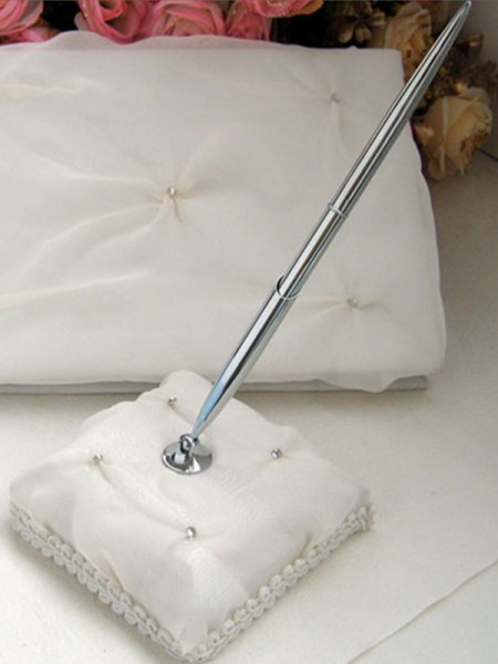 Glamorous Cloth With Rhinestone Guestbook & Pen Set