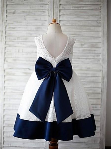 A-line/Princess Scoop Sleeveless Bowknot Floor-Length Lace Flower Girl Dresses