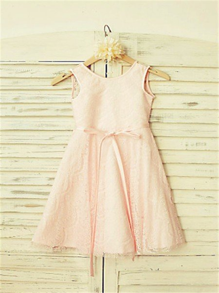 A-line/Princess Scoop Sleeveless Sash/Ribbon/Belt Tea-Length Lace Flower Girl Dresses