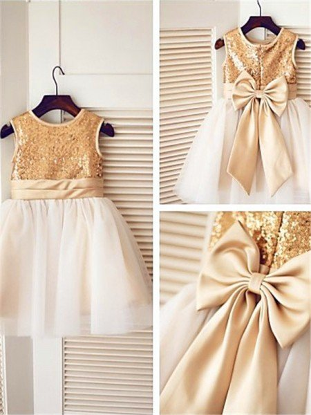 A-line/Princess Sleeveless Scoop Sequin Knee-Length Tulle Flower Girl Dresses