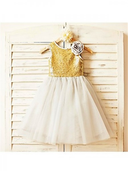 A-line/Princess Scoop Sleeveless Tea-Length Sequin Tulle Flower Girl Dresses