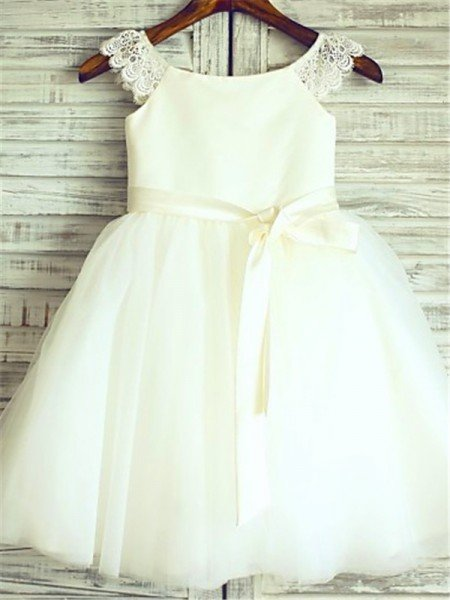 A-line/Princess Sleeveless Scoop Sash/Ribbon/Belt Tea-Length Organza Flower Girl Dresses