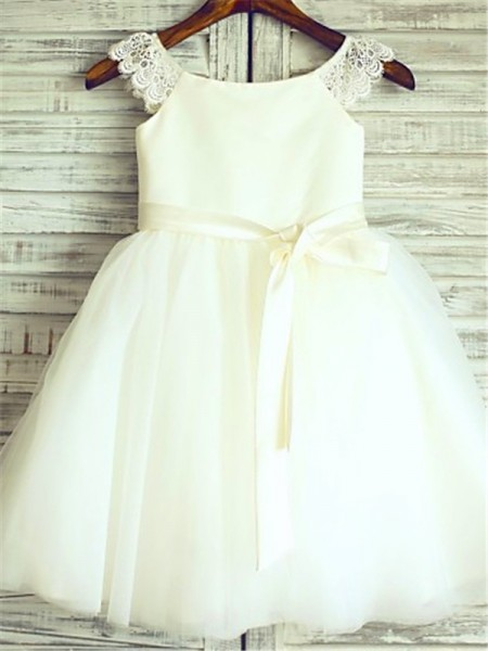 A-line/Princess Sleeveless Scoop Sash/Ribbon/Belt Knee-Length Organza Flower Girl Dresses