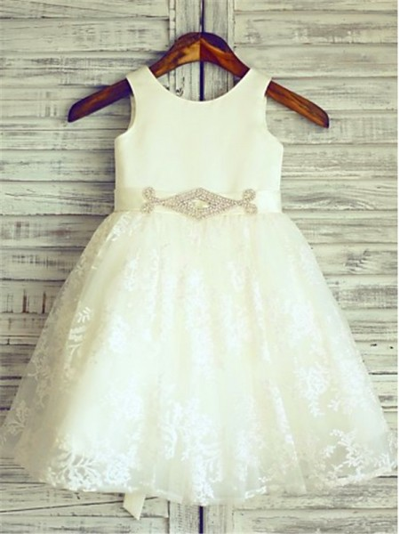 A-line/Princess Scoop Sash/Ribbon/Belt Sleeveless Tea-Length Lace Flower Girl Dresses