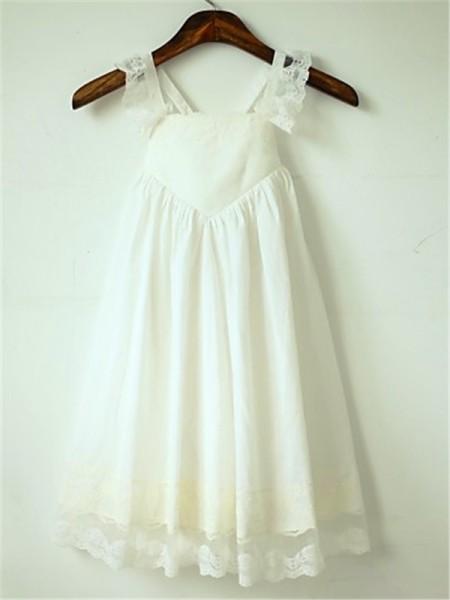 A-line/Princess Straps Sleeveless Ruffles Floor-Length Chiffon Flower Girl Dresses