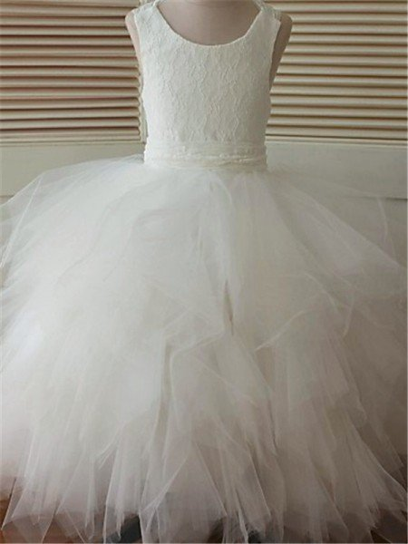 0962014a9 Ball Gown Scoop Sleeveless Lace Floor-Length Organza Flower Girl Dresses