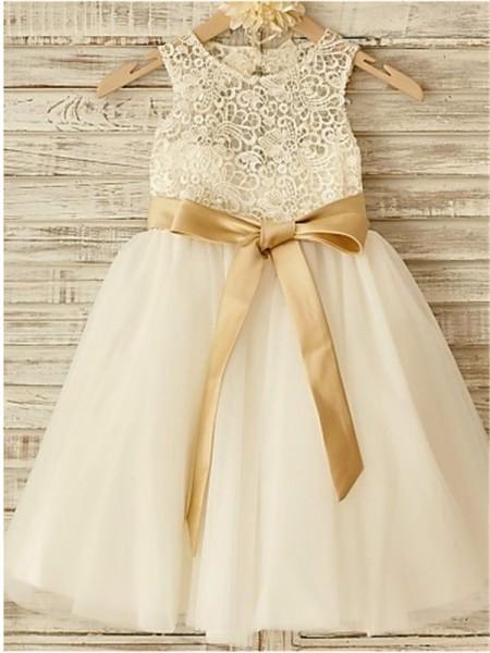 7ea15bc5973 A-line Princess Scoop Sleeveless Bowknot Floor-Length Tulle Flower Girl  Dresses