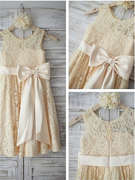 A-line/Princess Sleeveless Scoop Bowknot Knee-Length Lace Flower Girl Dresses