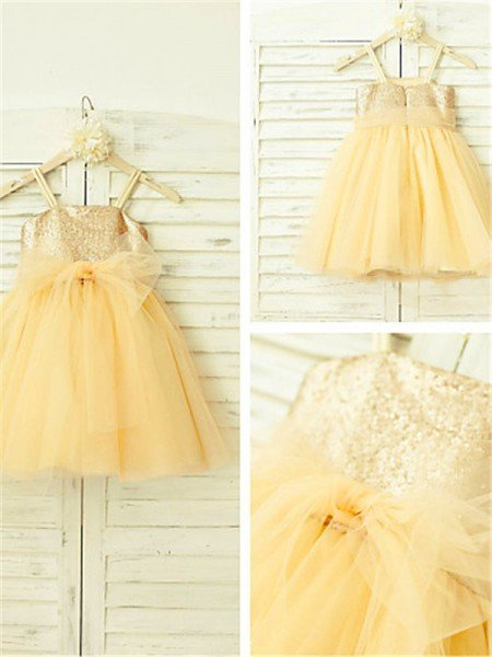 A-line/Princess Spaghetti Straps Sleeveless Sequin Tea-Length Tulle Flower Girl Dresses