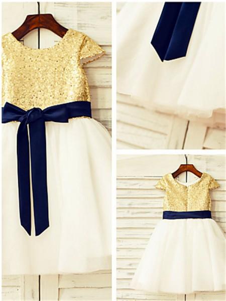 A-line/Princess Scoop Short Sleeves Sequin Knee-Length Tulle Flower Girl Dresses