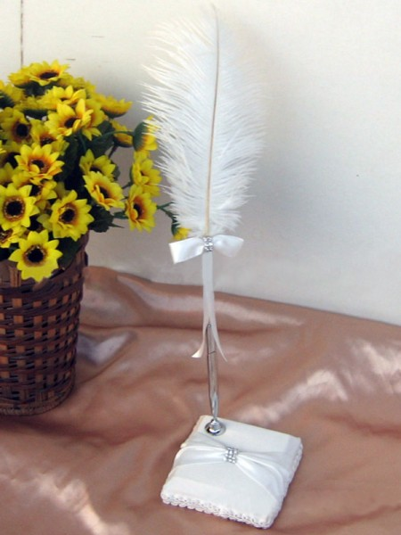 Beautiful Feather With Bowknot Pen Set