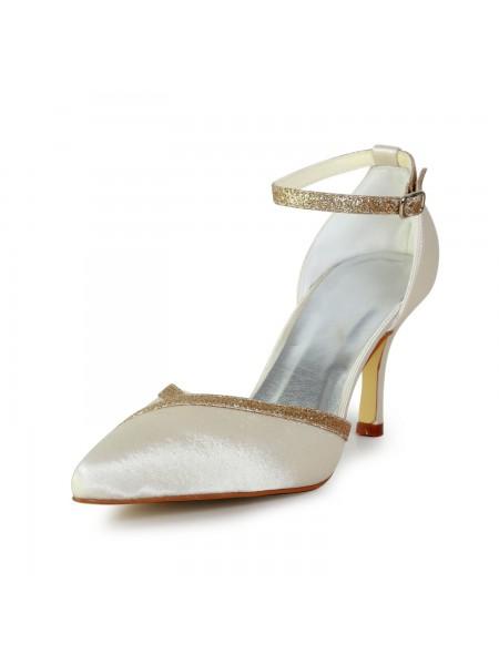 Women's Elegant Satin Stiletto Heel With Sparkling Glitter Gold Wedding Shoes