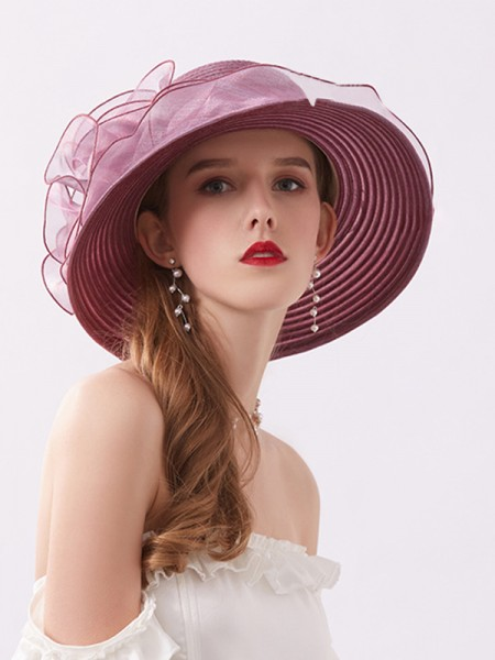 Ladies' Romantic Silk Flower Adjustable Beach/Sun Hats