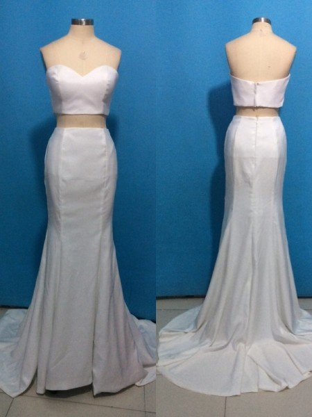 Trumpet/Mermaid Sweetheart Stretch Crepe Sleeveless Sweep/Brush Train Dresses