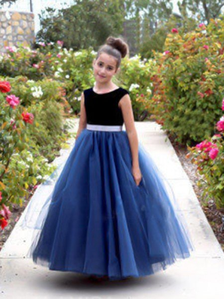 A-Line/Princess Sleeveless Scoop Ankle-Length Sash/Ribbon/Belt Tulle Flower Girl Dresses