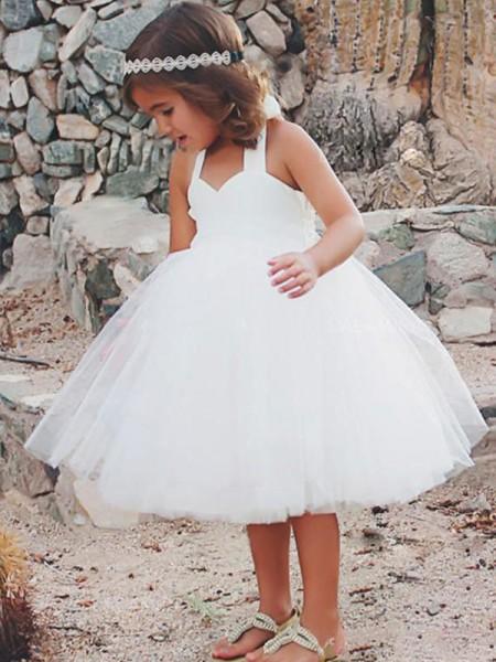 26acd61aa A-Line/Princess Sleeveless Halter Tea-Length Ruffles Tulle Flower Girl  Dresses