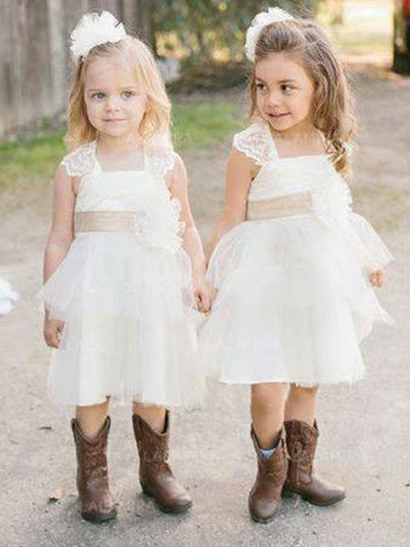 A-Line/Princess Sleeveless Square Knee-Length Sash/Ribbon/Belt Tulle Flower Girl Dresses