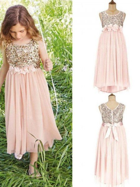 A-Line/Princess Sleeveless Scoop Tea-Length Sequin Chiffon Flower Girl Dresses