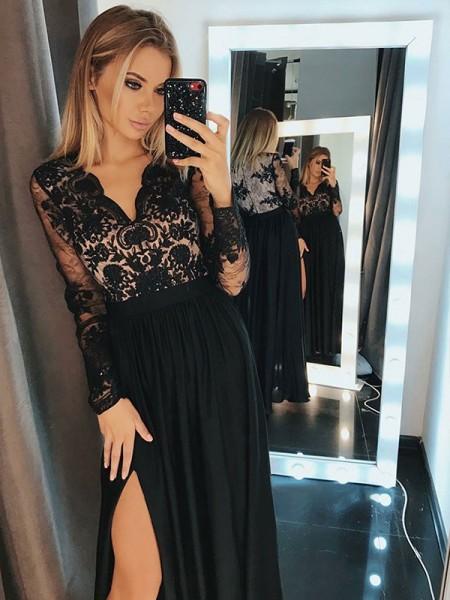 A-Line/Princess Long Sleeves V-neck Floor-Length Applique Chiffon Dresses