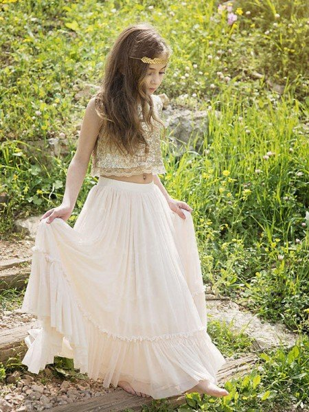 A-Line/Princess Sleeveless Scoop Floor-Length Sequin Chiffon Flower Girl Dresses