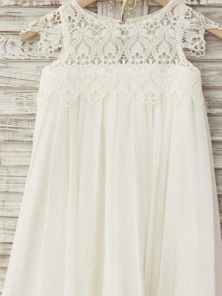 A-Line/Princess Knee-Length Scoop Lace Short Sleeves Chiffon Flower Girl Dresses