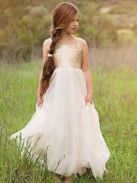 A-Line/Princess Sleeveless Scoop Floor-Length Sequin Tulle Flower Girl Dresses