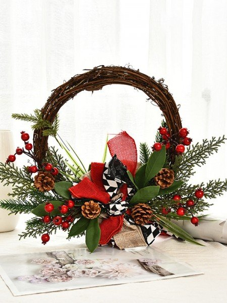 Sweet Wood Bowknot Christmas Wreaths