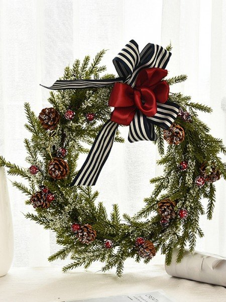Lovely Wood Bowknot Christmas Wreaths