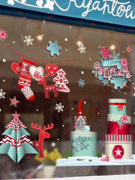 Christmas Attractive PVC Static Stickers