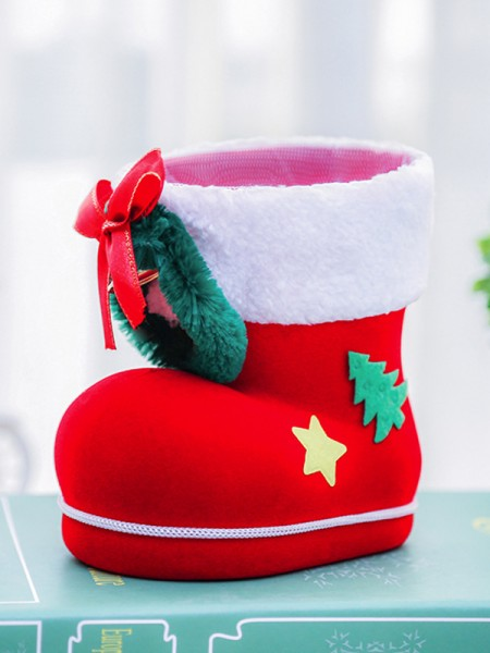 Christmas Beautiful Plastic With Bowknot Boots