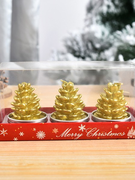 Christmas Glamorous White Wax With Pine Cones Candles