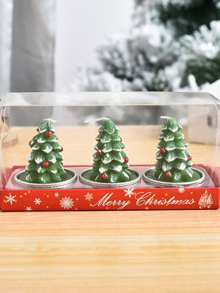 Christmas Trendy White Wax Christmas Tree Candles