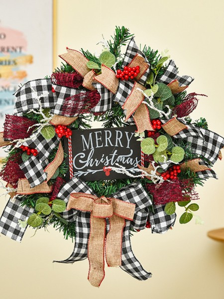 Elegant Wood Nameplate Christmas Wreaths
