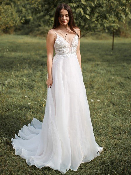 A-Line/Princess Spaghetti Straps Chiffon Applique Sleeveless Sweep/Brush Train Wedding Dresses