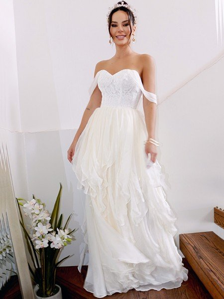 A-Line/Princess Sleeveless Off-the-Shoulder Ruched Chiffon Floor-Length Wedding Dresses