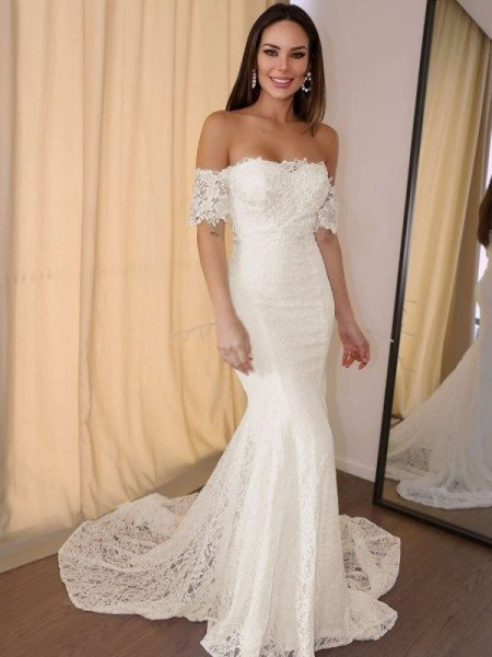 Trumpet/Mermaid Off-the-Shoulder Short Sleeves Lace Applique Court Train Wedding Dresses