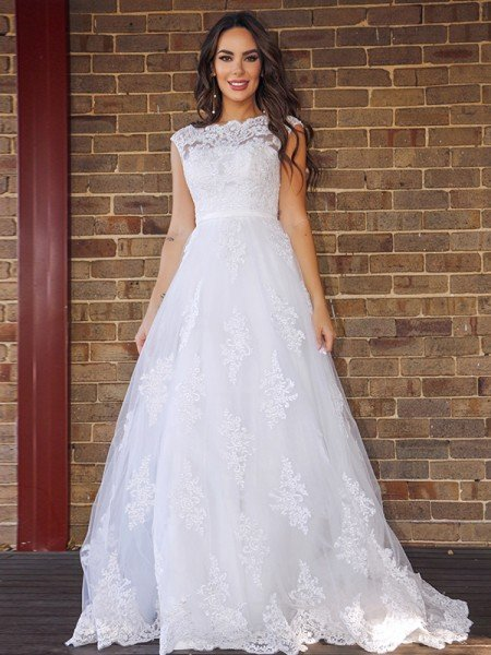 A-Line/Princess Lace Sleeveless Scoop Sweep/Brush Train Wedding Dresses