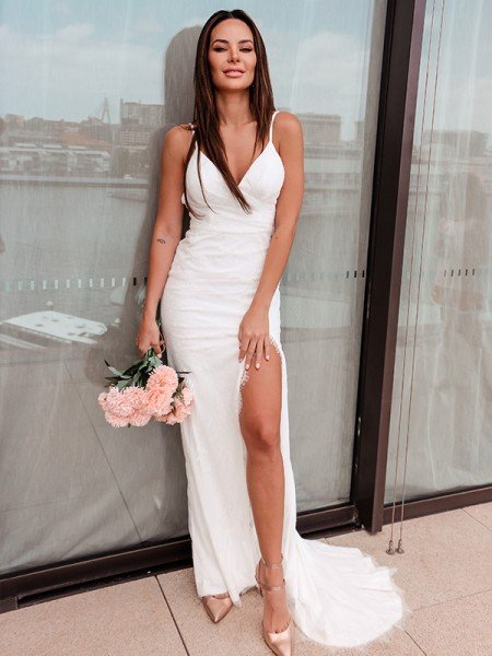 Sheath/Column Ruched Lace Spaghetti Straps Sleeveless Sweep/Brush Train Wedding Dresses