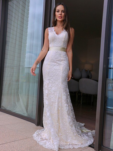 Sheath/Column Lace V-neck Sash/Ribbon/Belt Sleeveless Sweep/Brush Train Wedding Dresses