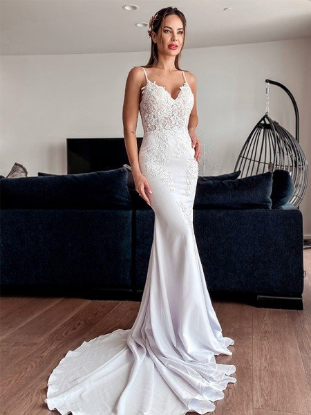 Trumpet/Mermaid Spaghetti Straps Applique Stretch Crepe Sleeveless Sweep/Brush Train Wedding Dresses