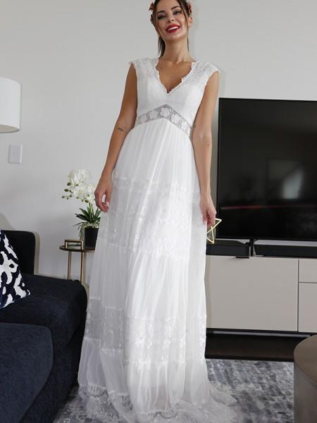 A-Line/Princess V-neck Short Sleeves Lace Ruched Floor-Length Wedding Dresses