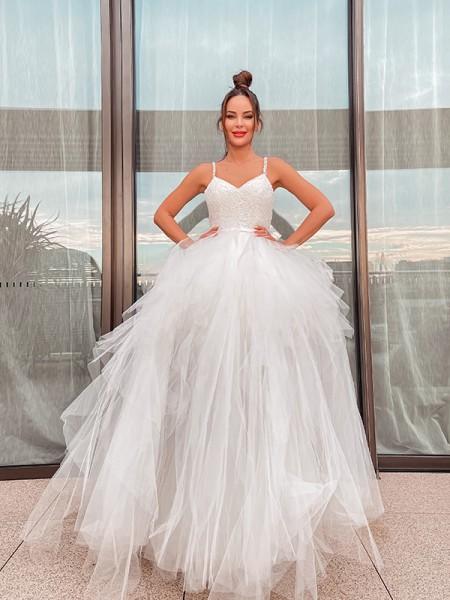 A-Line/Princess Sleeveless V-neck Tulle Ruched Floor-Length Wedding Dresses
