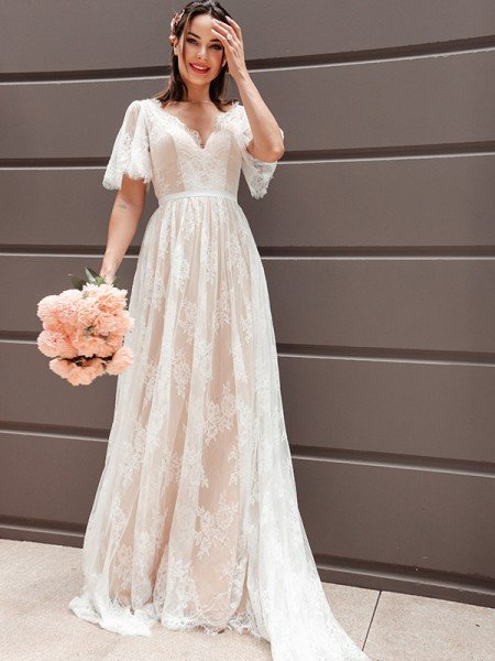 A-Line/Princess Short Sleeves Lace V-neck Sash/Ribbon/Belt Sweep/Brush Train Wedding Dresses